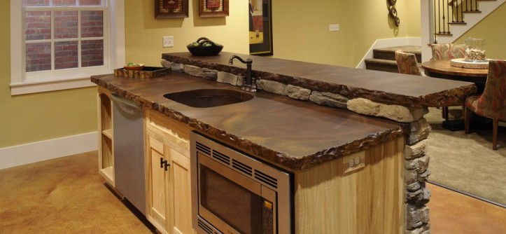 Stained Concrete Countertops for a Traditional Basement with a Traditional and Ackerly Park ~ New Albany, Ohio by Weaver Custom Homes