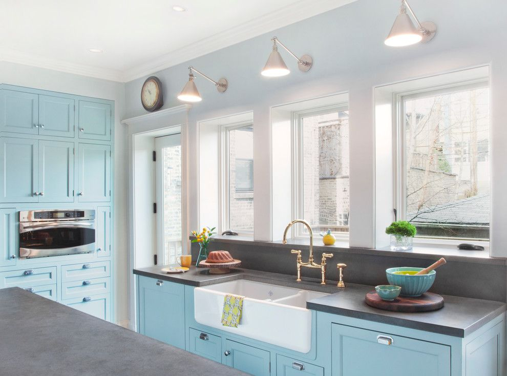 Stained Concrete Countertops for a Traditional Kitchen with a Light Blue Wall and Eclectic Chic by Randall Architects