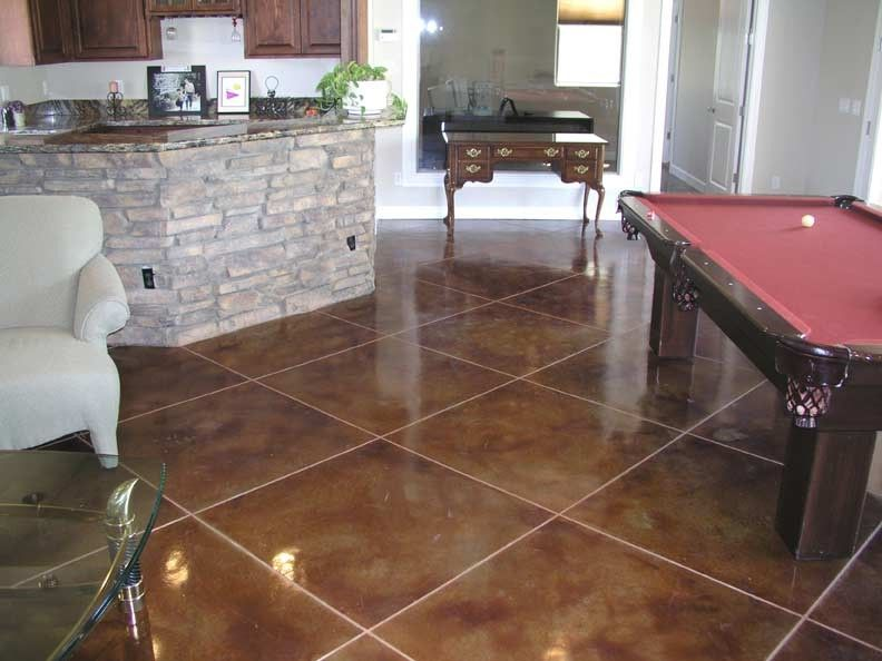Stained Concrete Floors for a Traditional Family Room with a Acid Stained Concrete Floor and Pool House by BC Coatings
