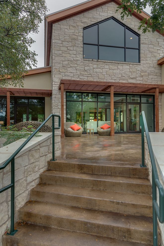 Stained Concrete Patio for a Traditional Patio with a Concrete Stairs and Great Hills Clubhouse by Greenbelt Construction