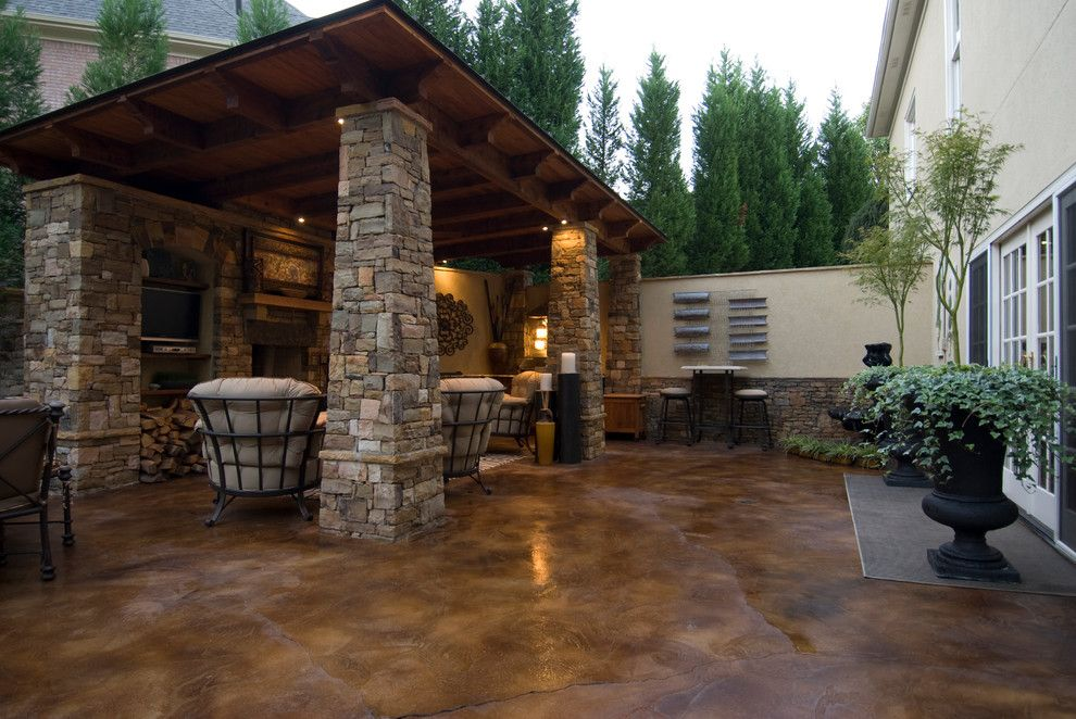 Stained Concrete Patio for a Traditional Patio with a Patio and Outside's Portfolio Shots by Outside Landscape Group