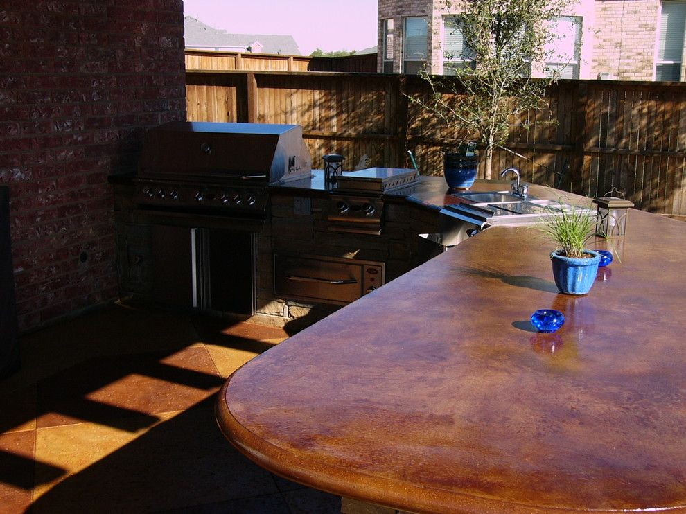 Stained Concrete Patio For A Traditional Patio With A Traditional And HGTV  Landscapersu0027 Challenge By