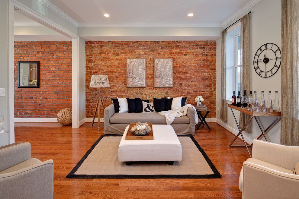 Staining Brick for a Eclectic Living Room with a Wood Floor and Photography by Struxture Photography