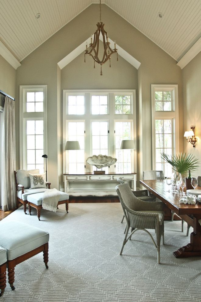 Stanton Carpet for a Beach Style Living Room with a Cathedral Ceiling and Kiawah Family Home by Margaret Donaldson Interiors