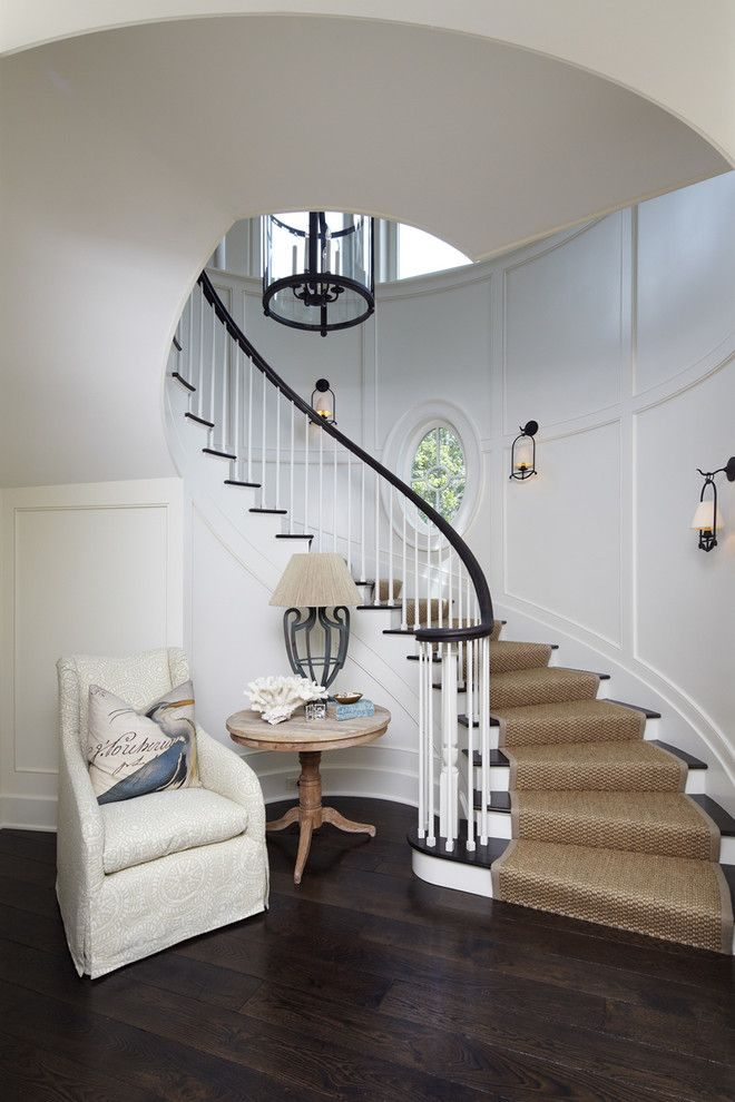 Stanton Carpet for a Beach Style Staircase with a White Upholstered Chair and the Beach House by the Anderson Studio of Architecture & Design