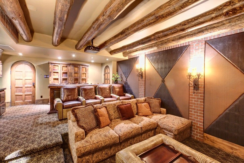 Stanton Carpet for a Mediterranean Home Theater with a Arched Doorway and Theaters/ Media Rooms with a Twist! by Professional Design Consultants