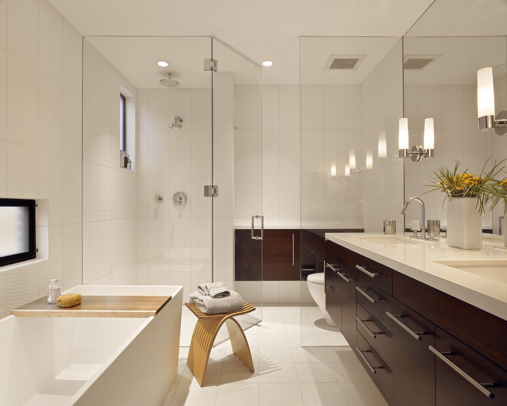 Starfire Glass for a Contemporary Bathroom with a Drawer Pulls and Bernal Heights Residence by Bruce Wright