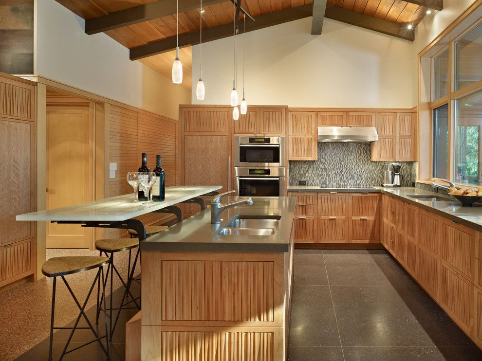 Starfire Glass for a Midcentury Kitchen with a Exposed Beams and Lake Forest Park Renovation by Finne Architects