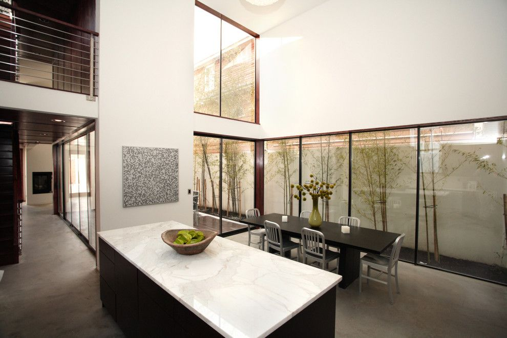 Starfire Glass for a Modern Dining Room with a Minimal and Modern Dining Room by Pbelemental.com