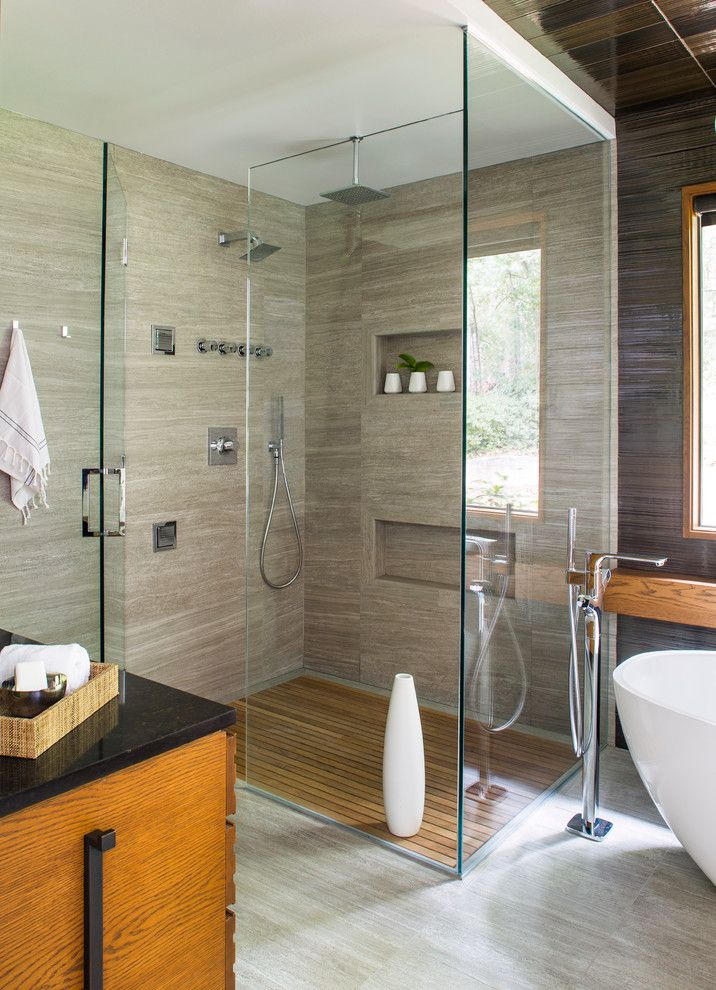 Starfire Glass for a  Spaces with a Specialty Tile and a Sharp Bathroom by Rabaut Design Associates, Inc.