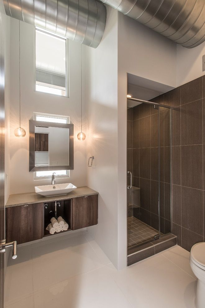 Starion for a Contemporary Bathroom with a Wood Cabinets and Contemporary Interiors by Starion Custom Residences