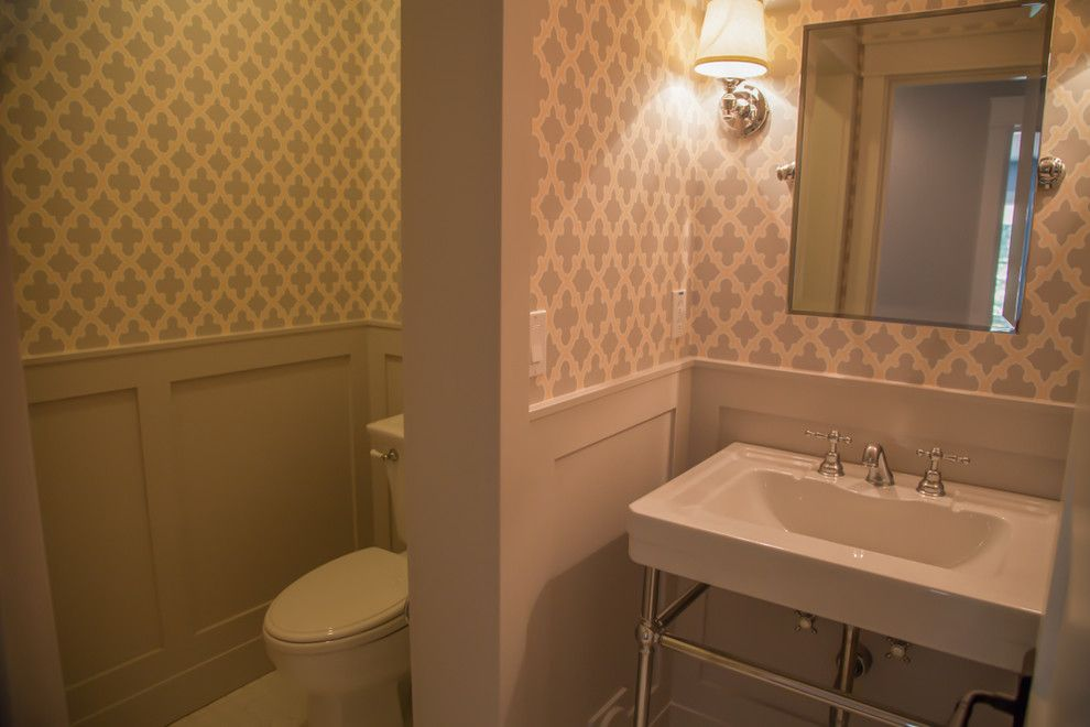Starion for a Traditional Powder Room with a Bathroom Sink and Powder Room by Starion Custom Residences