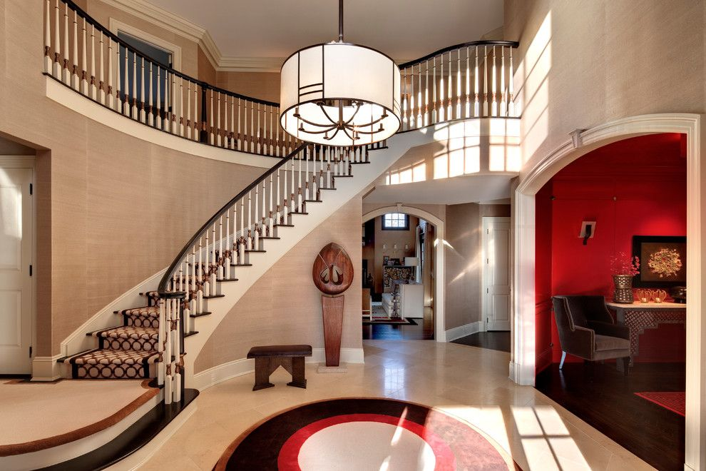 Stark Carpet for a Contemporary Entry with a White Staircase Railing and Contemporary Gem by Sgh Designs Inc.
