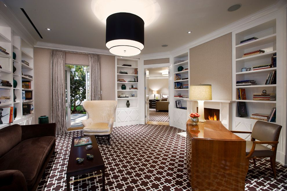 Stark Carpet for a Midcentury Home Office with a Travertine and Hollywood Regency, Montecito by Maienza   Wilson Interior Design + Architecture