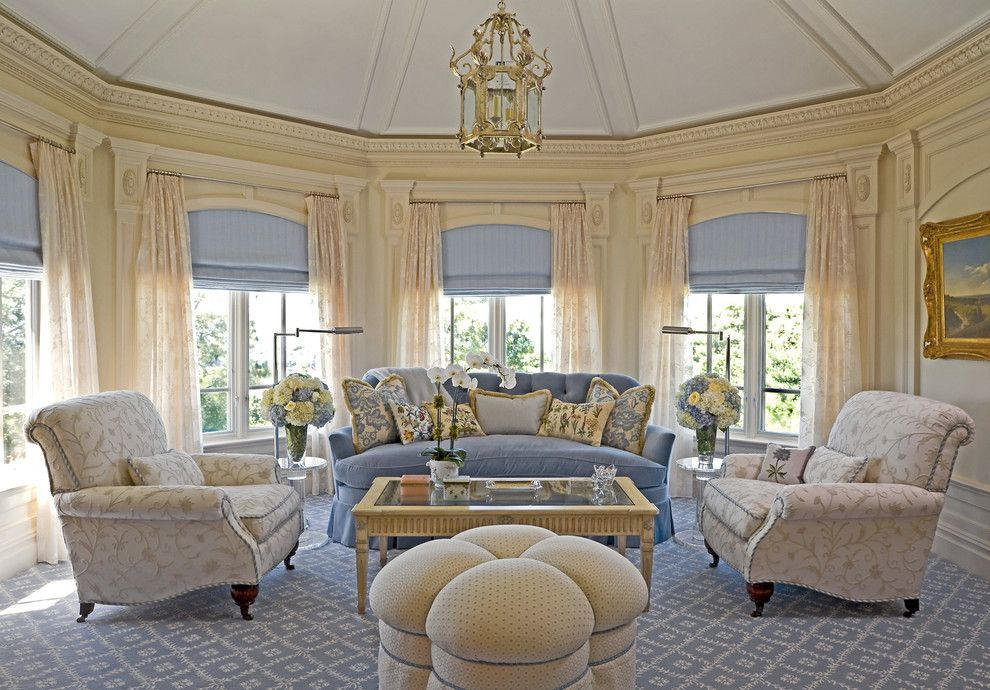 Stark Carpet for a Traditional Living Room with a Window Treatments and Living Room 8 by Lauren Ostrow Interior Design, Inc