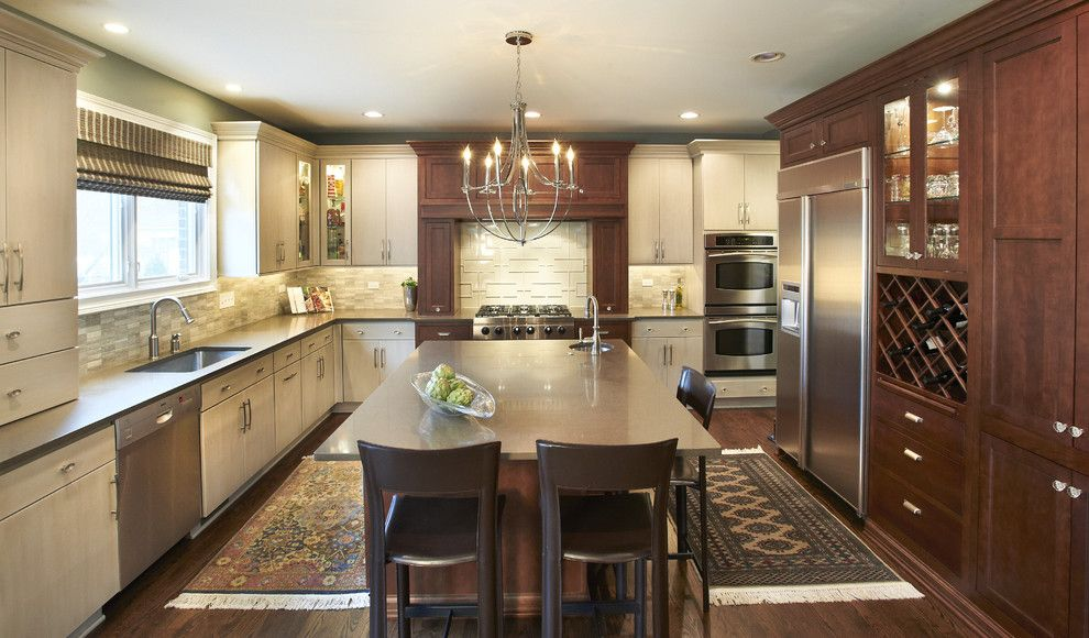 Starmark Cabinets for a Contemporary Kitchen with a Island Lighting and Elmhurst Kitchen by Kristin Petro Interiors, Inc.