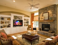 Starmark Cabinets for a Traditional Family Room with a Ceiling Fan and 2008 Saratoga Showcase Home by Belmonte Builders