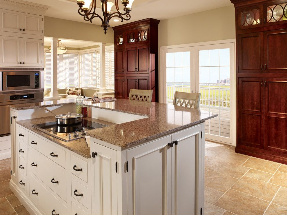 Starmark Cabinets for a Traditional Kitchen with a Bar Stools and Starmark Cabinetry Kitchen in Alexandria Inset Door Style in Maple & Cherry by Starmark Cabinetry