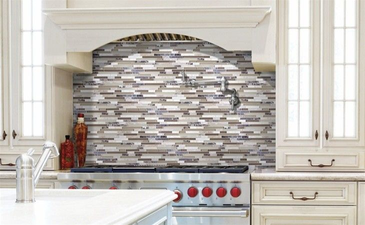 Starmark Cabinets for a Traditional Kitchen with a Mosaic Tile and Backsplash by Demar
