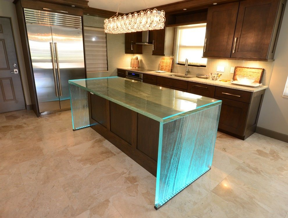 Starphire Glass for a Contemporary Kitchen with a Textured Glass and Glass Island by Downing Designs.com