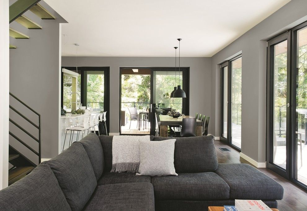 Starphire Glass for a Contemporary Living Room with a Dark Wood Flooring and PPG Pittsburgh Paints by PPG Architectural Coatings