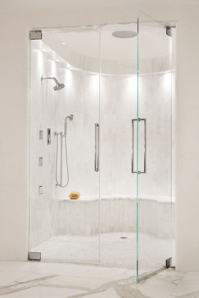 Starphire Glass for a Transitional Bathroom with a Custom Shower and Country Club Residence by Habachy Designs