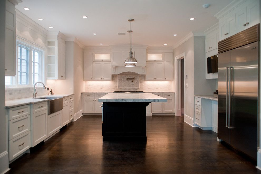 Statuary Marble for a Contemporary Kitchen with a White Kitchen Cabinets and Tenafly Nj Custom Home by Michelle Winick Design