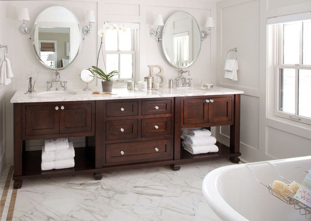 Statuary Marble for a Traditional Bathroom with a Gray Panel Wall and Traditional Bathroom  Bath Vanity by Chalet