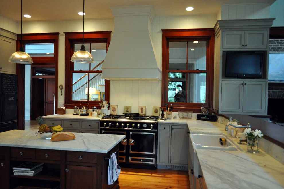 Statuary Marble for a Traditional Kitchen with a Dark Window Frames and Cole Residence by Frederick + Frederick Architects