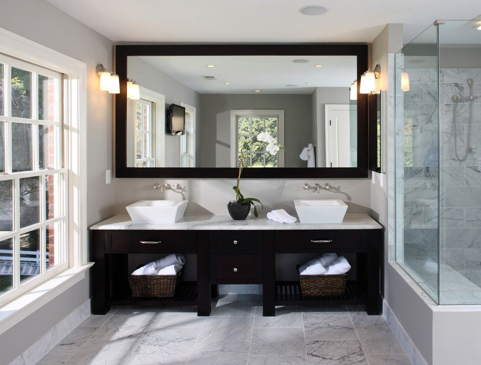 Statuary Marble for a Transitional Bathroom with a Marble Countertops and Alexandria Residence by Lori Shaffer
