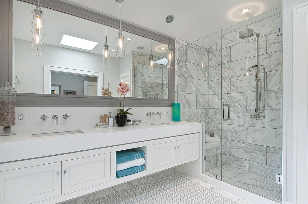 Statuary Marble for a Transitional Bathroom with a Storage Vanity and Douglass by Chr Dauer Architects
