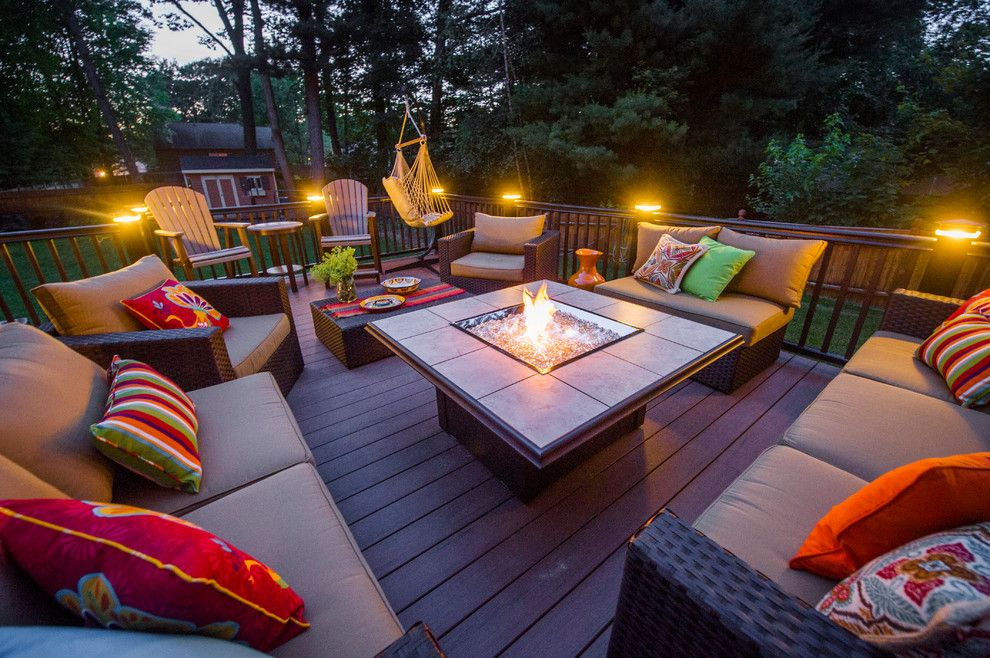 Stoll Fireplace for a Contemporary Deck with a Fire Feature and Patios and Decks by Razzano Homes and Remodelers, Inc.