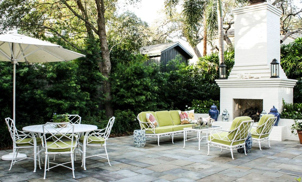 Stone Mart Tampa for a Traditional Patio with a Outdoor Fireplace and Gunning Residence by Mina Brinkey