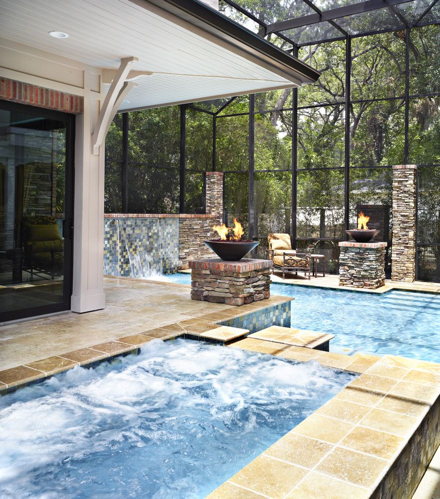 Stone Mart Tampa for a Transitional Pool with a Fountain and the Calkin Custom Home by Alvarez Homes