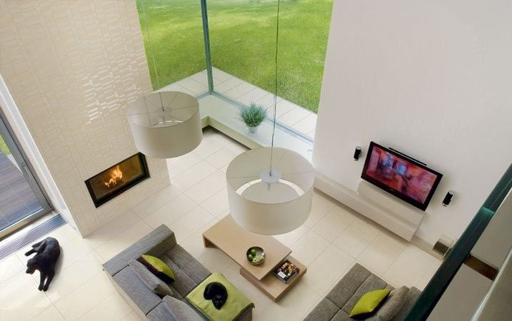 Stonepeak Ceramics for a Contemporary Living Room with a Porcelain Tile and the Standard Collection Creme by Stonepeak Ceramics