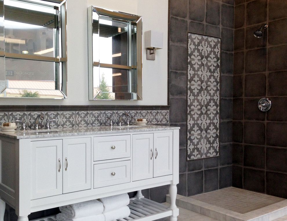 Stonepeak Ceramics for a Contemporary Spaces with a Decorative Tiles and Palazzo Castle Graphite by Stonepeak Ceramics