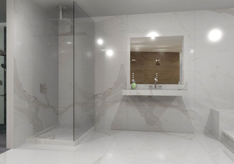 Stonepeak Ceramics for a Modern Bathroom with a Black Plane and Calacatta Vena by Stonepeak Ceramics