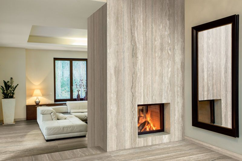 Stonepeak Ceramics for a Modern Living Room with a Floor and Travertino Vena Plane by Stonepeak Ceramics