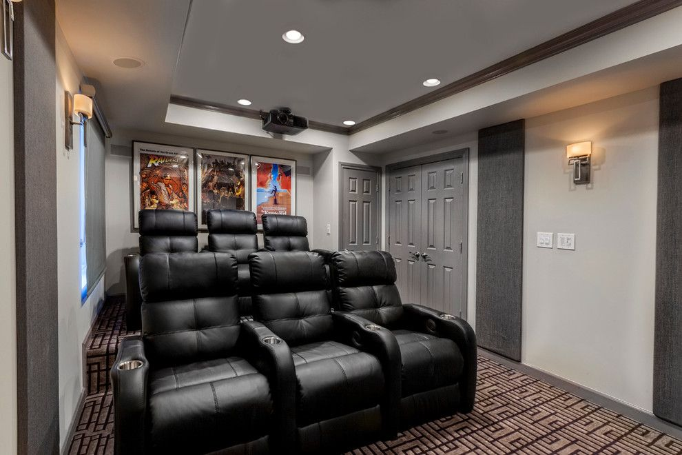 Stony Brook Theater for a Contemporary Basement with a Backsplash Ideas and a Mancave for the Whole Family. Basement Remodel by Tiffany Brooks, Hgtv Host & Interior Designer