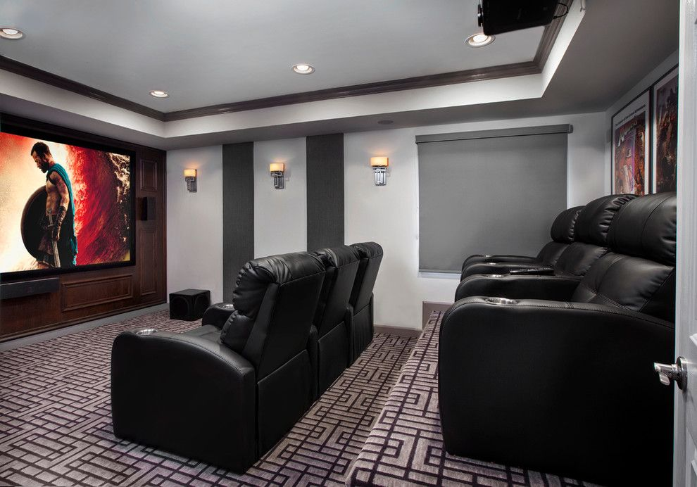 Stony Brook Theater for a Contemporary Basement with a Basement Windows and a Mancave for the Whole Family. Basement Remodel by Tiffany Brooks, Hgtv Host & Interior Designer