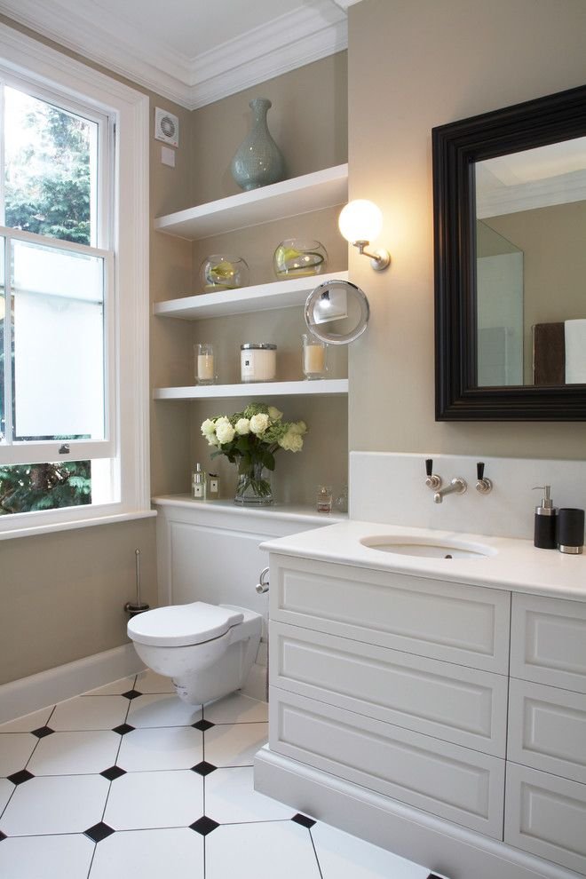 Stony Brook Theater for a Traditional Bathroom with a Beige Walls and Dunsany Road by Laura Hammett Ltd