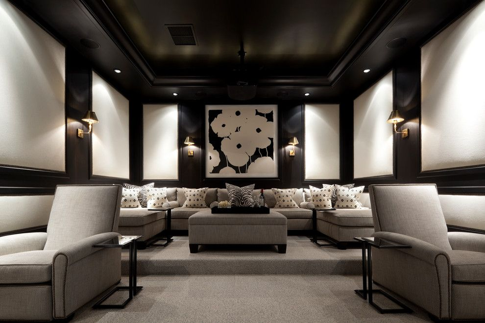 Stony Brook Theater for a Traditional Home Theater with a Media Room and Coral Gables, Florida Home by Eva Quateman Interiors