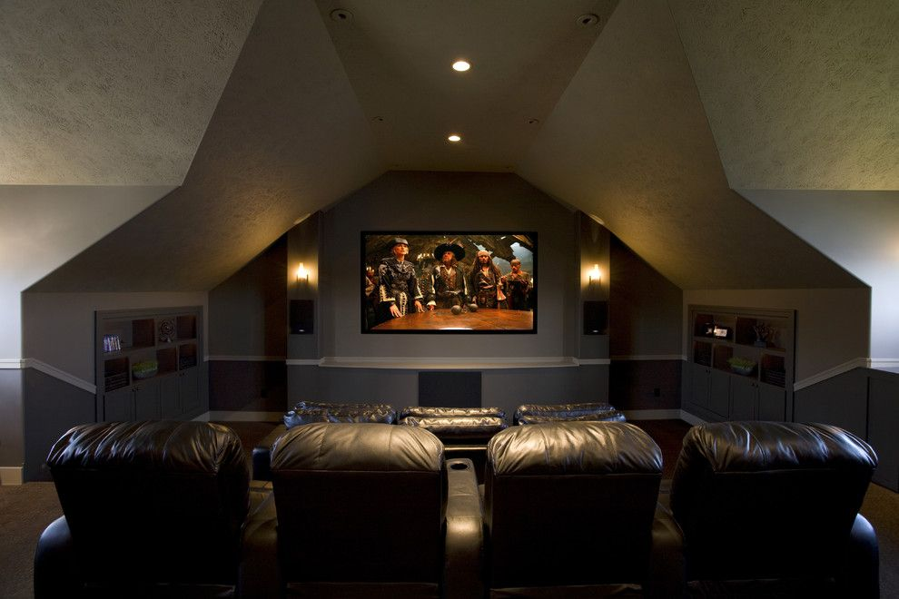 Stony Brook Theater for a Traditional Home Theater with a Theater Room and Lakeside Remodel by by Brooke Interiors