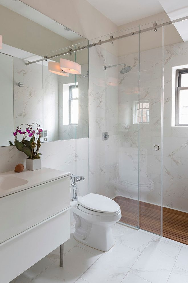 Stowers Furniture for a Contemporary Bathroom with a White Bathroom and London Terrace Penthouse by Ira Frazin Architect