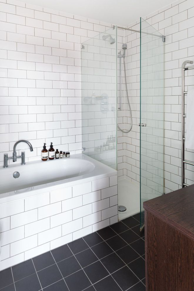 Stowers Furniture for a Scandinavian Bathroom with a Towel Rail and Loft Apartment London by Element Studios