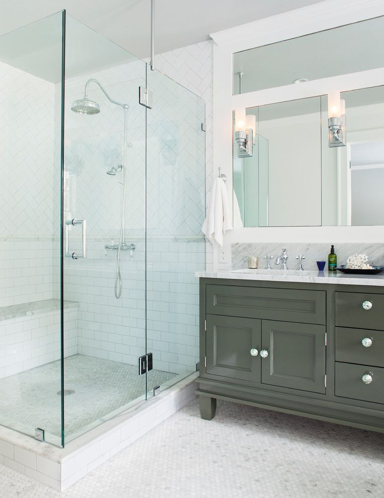 Stowers Furniture for a Traditional Bathroom with a Shower Bench and Interiors by Jeff Herr Photography