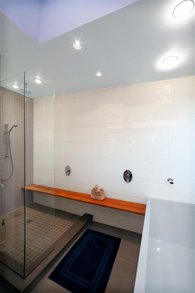 Subway Tile Patterns for a Modern Bathroom with a Tile Wall and Mclean by Thorsen Construction