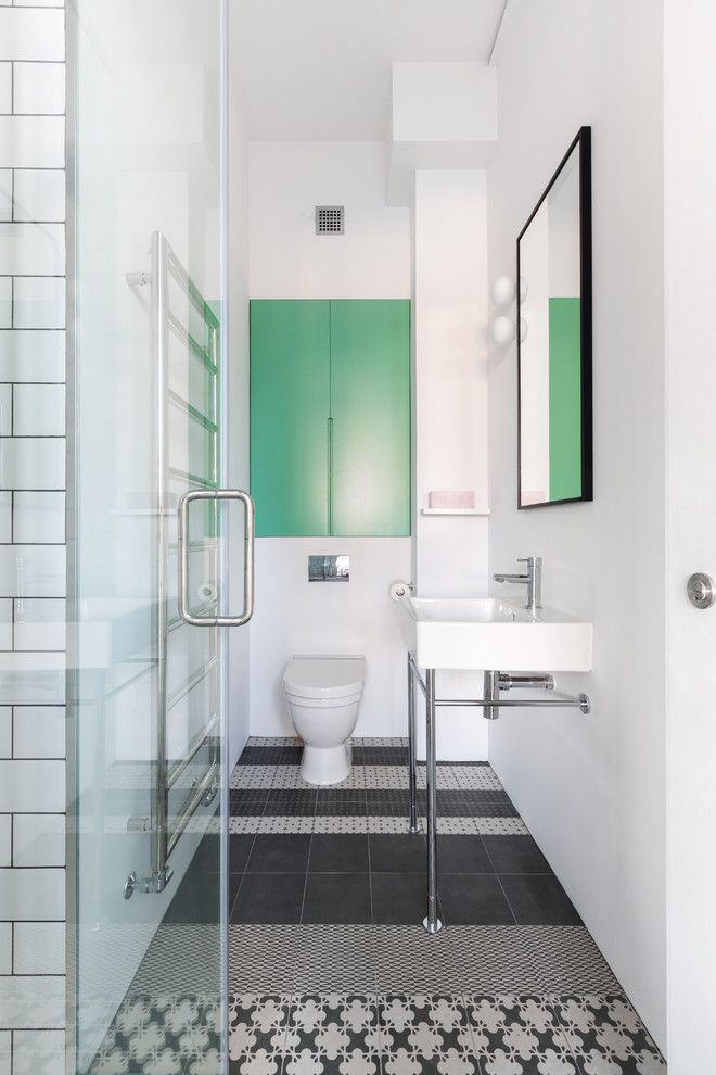 Subway Tile Patterns for a Scandinavian Bathroom with a Loft Wc and London Loft by Cloud Studios Ltd