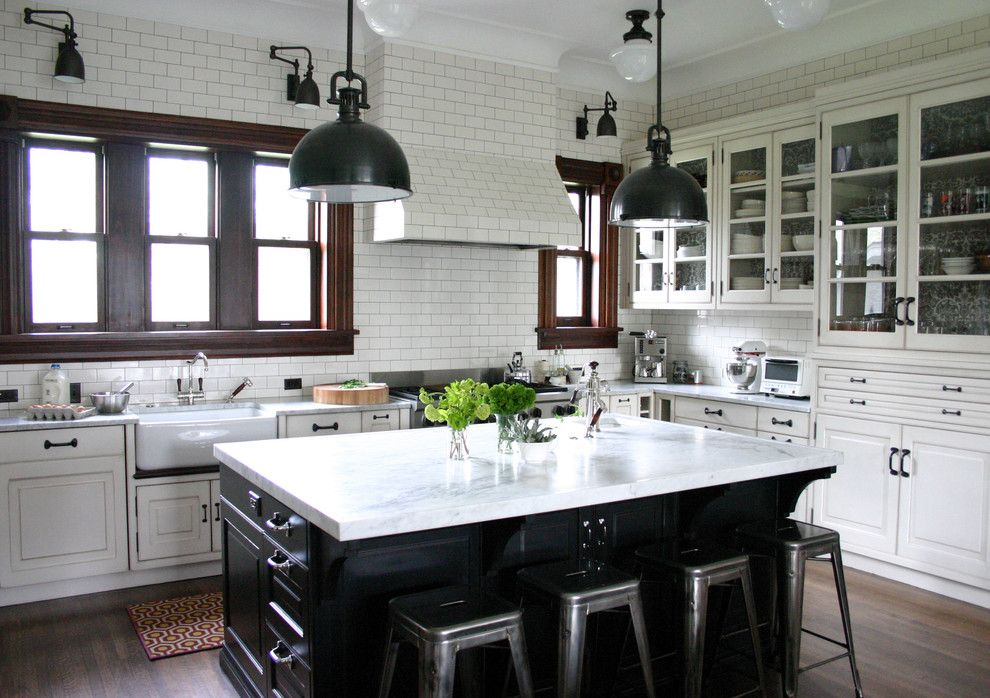 Subway Tile Patterns for a Traditional Kitchen with a Range Hood and Kitchenlab by Rebekah Zaveloff | Kitchenlab