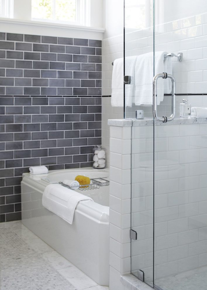 Subway Tile Patterns for a Transitional Bathroom with a Mosaic Tile Floor and Mill Valley, Ca by Urrutia Design